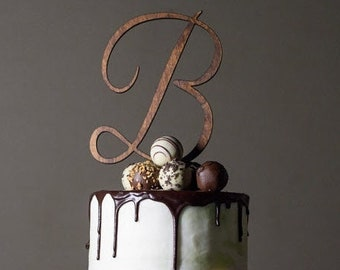 Wedding Cake Topper, Initial, Bridal, Script, Letter, Baby, Rustic, Custom, Bride, Groom, Birthday, Anniversary, Shower, Graduation, Baptism
