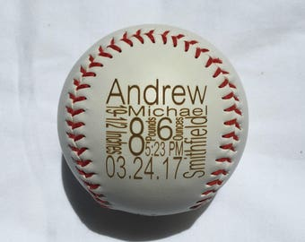 Personalized Birth Announcement Baseball or Softball, Baby Birth Announcement, Baseball, Softball, Custom, Engraved, Baby Gift