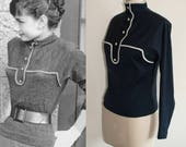 Audrey Hepburn Knit Sweater 100 Wool 1950s blouse Custom Made Top Women Blouse Blue Blouse Vintage Blouse
