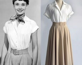 Audrey Hepburn Fashion Roman Holiday White Blouse Pleated Blouse Women Blouse 1950 39 s Custom Made Top Gift for woman