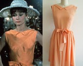 Audrey Hepburn Dress 60s Orange Dress 1960 39 s Custom made dress Casual Dress Hollywood Paris as it sizzles Movie dress