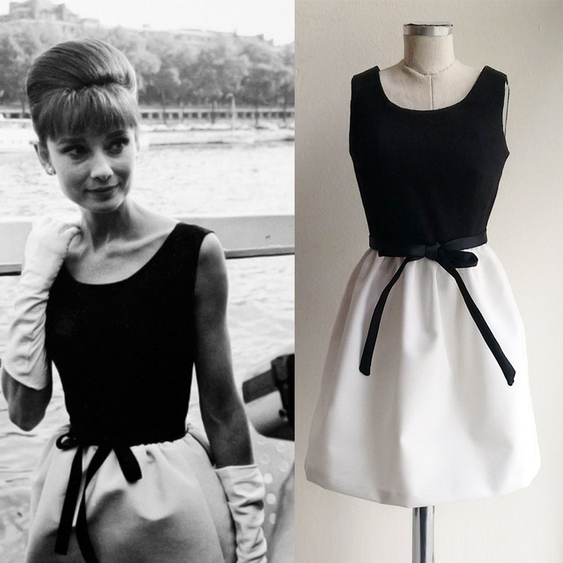 60s Dresses | 1960s Dresses Mod, Mini, Hippie Audrey Hepburn/ Dress/ 50s/ Black White Dress/ 1950s/ Custom made dress/ Cocktail Dress/ Hollywood $207.81 AT vintagedancer.com