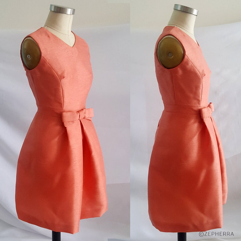 1960s Cocktail, Party, Prom, Evening Dresses Jackie Kennedy Orange Dress/ Jackie O Dress/ 1960s/ Vintage inspired Dress/ Cocktail Dress/ 60s Dress/ Custom made dress/ Mother of bride $231.34 AT vintagedancer.com