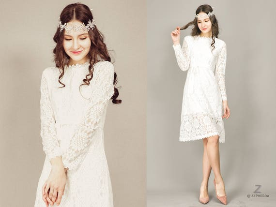 Short Wedding Dress/ Long Sleeve Lace Wedding Dress/ Boho