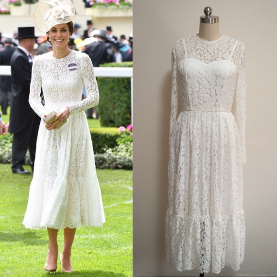 Kate Middleton Lace Dress Wedding Lace Dress White Lace Midi Dress Long Sleeve Dress Bohemian Lace Dress Duchess Of Cambridge