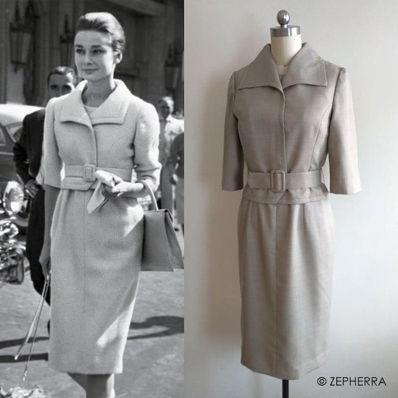 9a49e7cb Audrey Hepburn Dress Set/ 60s/ Beige Dress/ 1960's/ | Etsy