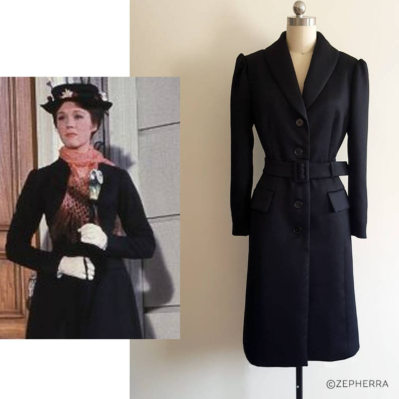 Coat Etsy Poppins Wool Mary Black Costume x6wUqvfa0S