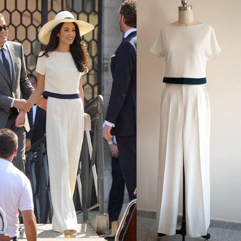 e13cf310b6a Amal Clooney Cream Pants Suit  White Jumpsuit  Wedding