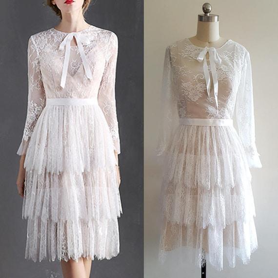 1920s Wedding Dress Boho Wedding Dress Flapper Lace Dress 20s Lace wedding dress long sleeve wedding dress Bohemian wedding