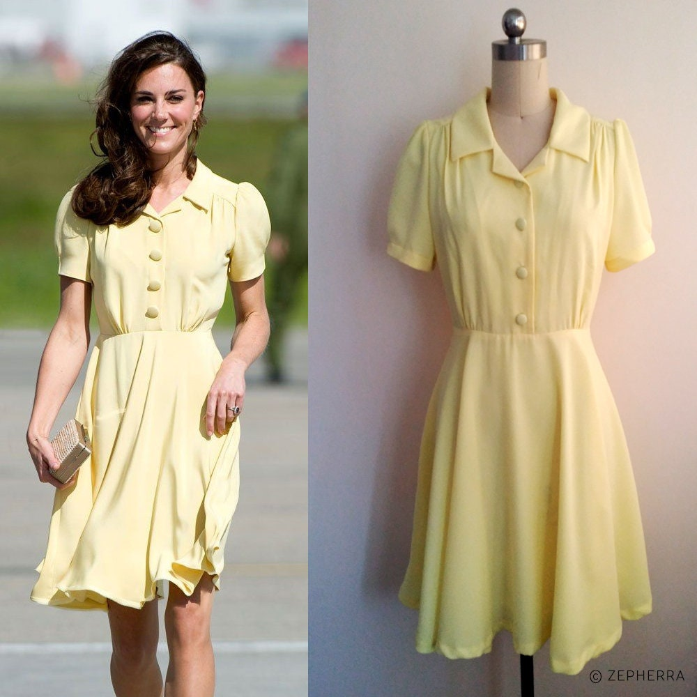 Kate Middleton Yellow Summer Dress Fit And Flare Dress Etsy