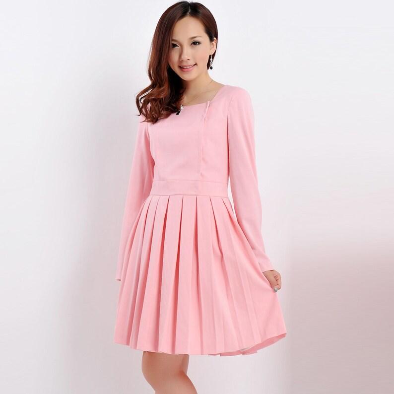 c1c6f924d5 Pleated Skater Dress  Kate Middleton Pink Dress  Teal  Long Sleeve Dress   Square neckline  Custom made dress  50s dress  Garden Party Dress