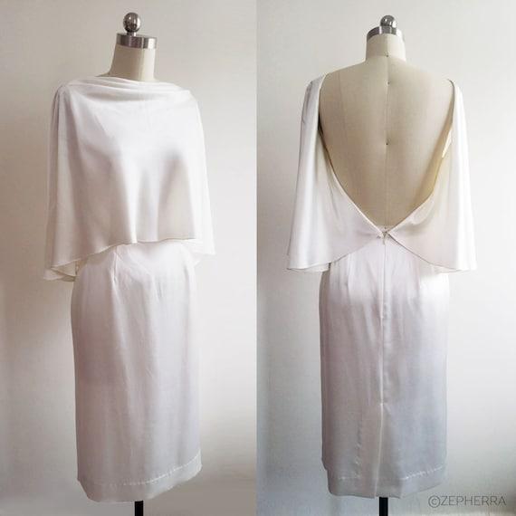 Selena Gomez inspired White silk satin cocktail dress Ivory wedding dress Backless gown Minimalistic wedding gown Simple bridal dress