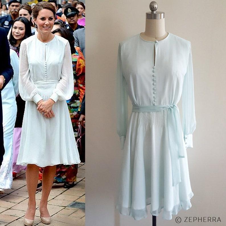109fe6ec07ee Kate Middleton Mint Dress/ Silk Georgette Dress/ Long sleeve   Etsy