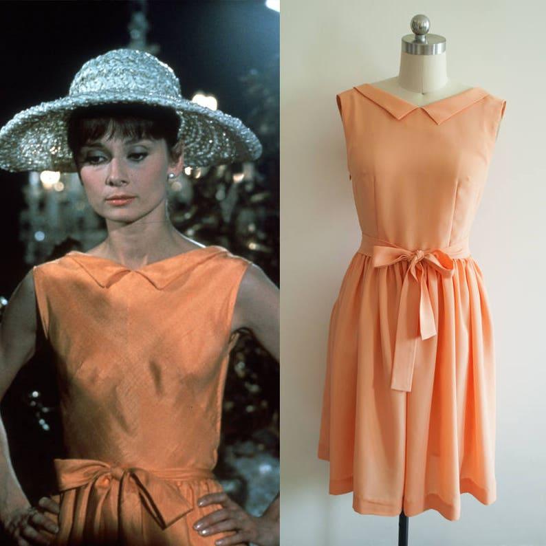 Audrey Hepburn abito   60s abito arancione   1960   Custom  6865dec8876