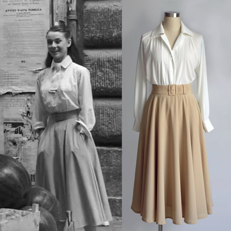 f56c3a9c Vintage/ Audrey Hepburn/ Roman Holiday/ Skirt/ Circular Skirt/ | Etsy