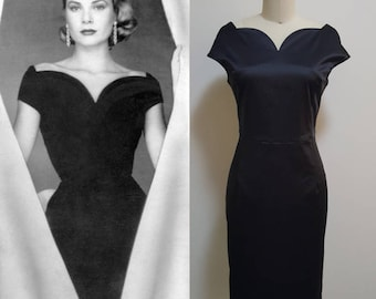 Grace Kelly/ midi evening Dress/ Vintage 50s/ Black Dress/ 1950's/ Little Black Dress/ Custom made dress/ Hollywood Glamour/ Tailored Dress