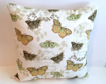 NEW/ 16 x 16 Butterfly Script Envelope Style Pillow Cover