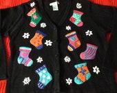 Ugly Christmas Sweater Black Knit Cardigan, Stocking snow flake appliqués multi-color, Women 39 s XL