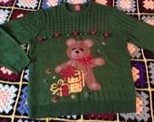 Ugly Christmas Party Sweater, Men 39 s XL Green knit Pullover, Big Teddy Bear