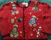 Christmas quot Ugly quot Sweater Women 39 s Nutcracker Cardigan, Teddy Bears,Red w Black Trim, size Small