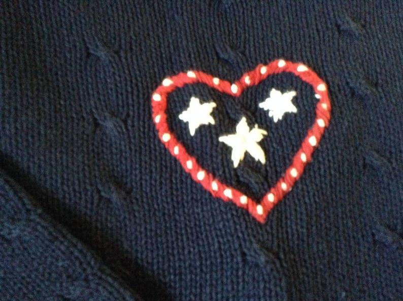 V-Neck Cardigan Women/'s USA Flag Sweater Patriotic Jumper Rich heavy cotton knit size Large