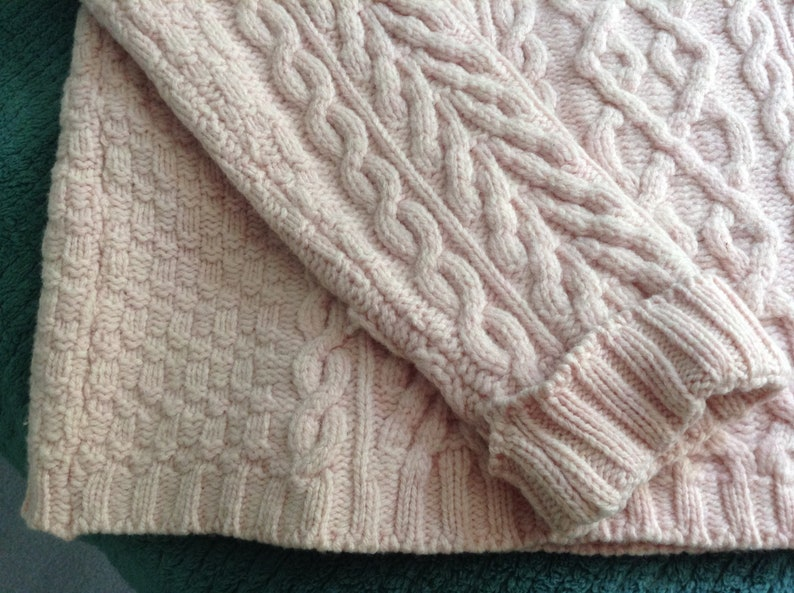 Made in Ireland semi-Cowl  Pullover size Medium Ladies Aran Merino Wool Knitted Fisherman Sweater Jumper