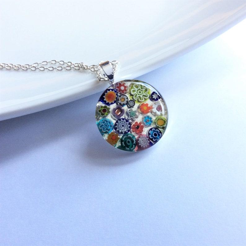 medium Multicolour Murano millefiori and resin pendant