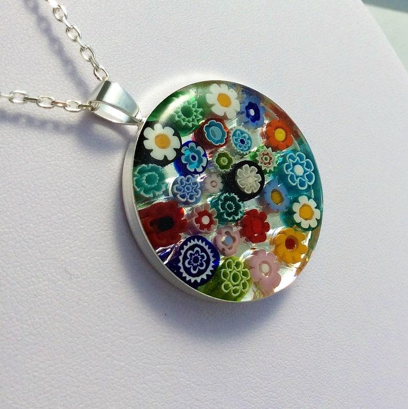 large Multicolour Murano glass millefiori pendant