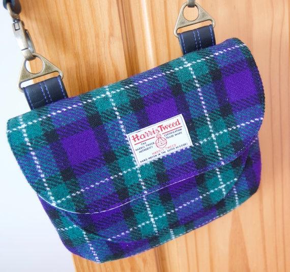397192c14c9b Crossbody Bag in Harris Tweed Adjustable Crossbody Bag Blue
