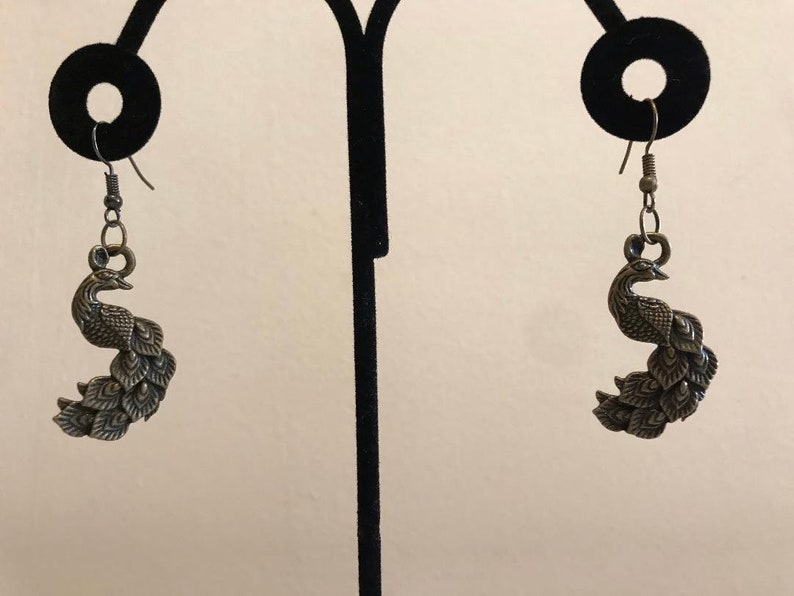 Peacock Antiqued Bronze Earrings image 0