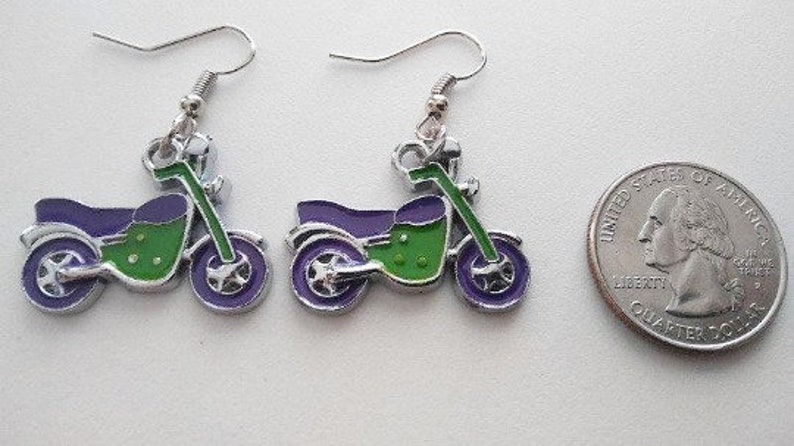Motorcycle  Earrings or Corded Necklace image 0