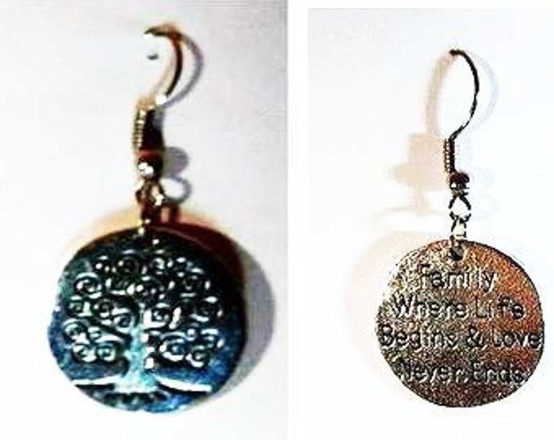 Tree with Words Earrings image 0