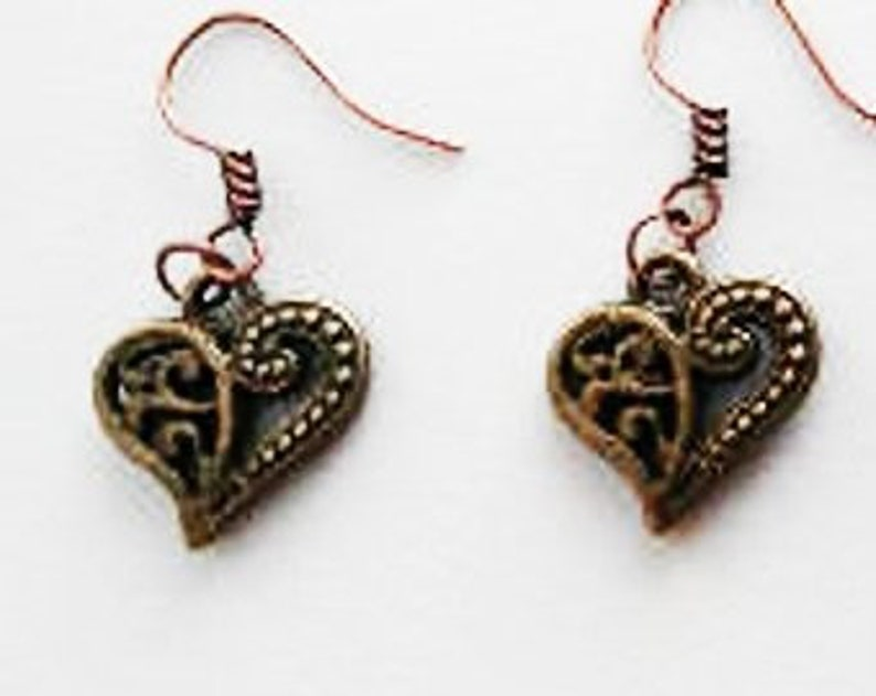 Antique Earrings in Bronze or Corded Necklace image 0