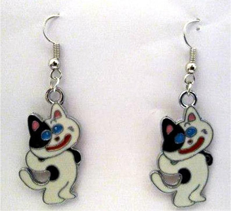Blue Eye Cat Earrings or Necklace image 0