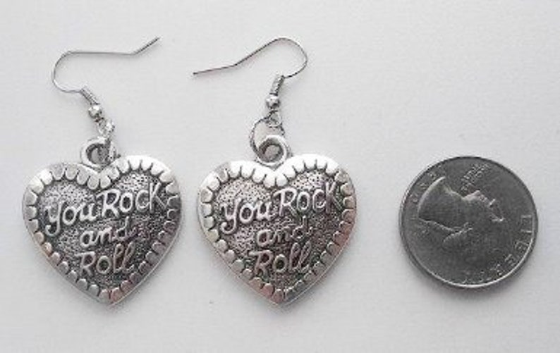Rock and Roll Heart Earrings or Corded Necklace image 0