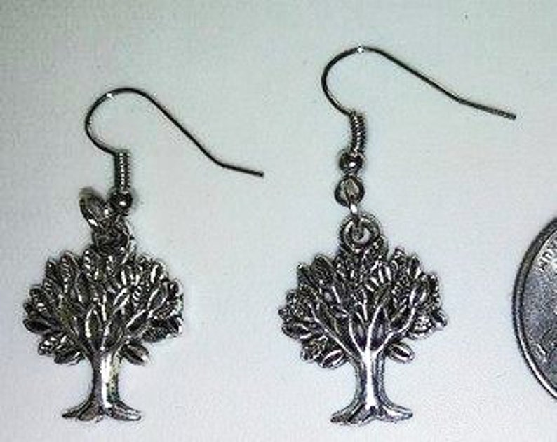 Tree Earrings Tibetan Silver image 0
