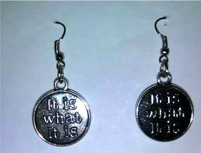 It Is What It Is Earrings or Corded Necklace image 0
