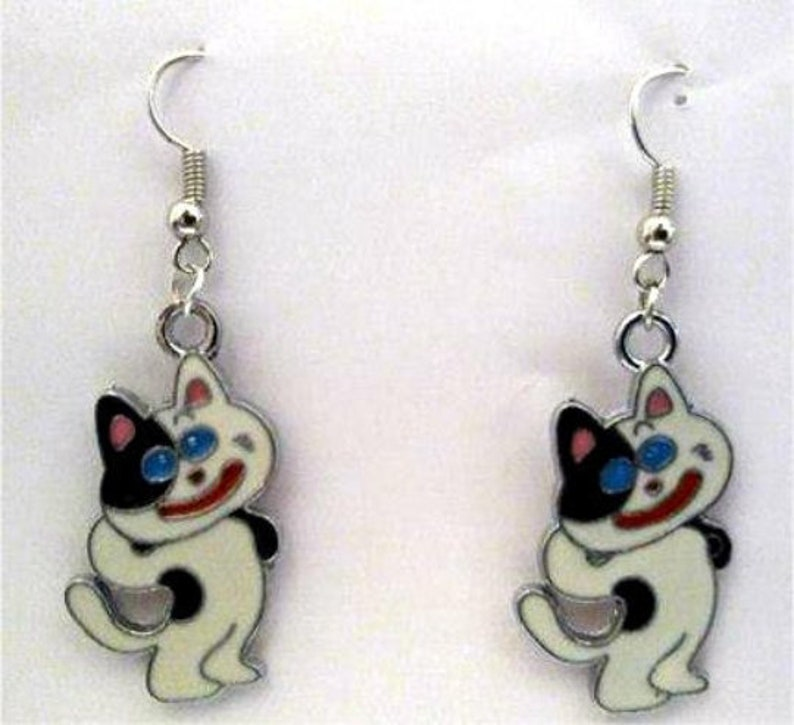 Blue Eye Cat Earrings  KItty Earrings  Feline Earrings image 0
