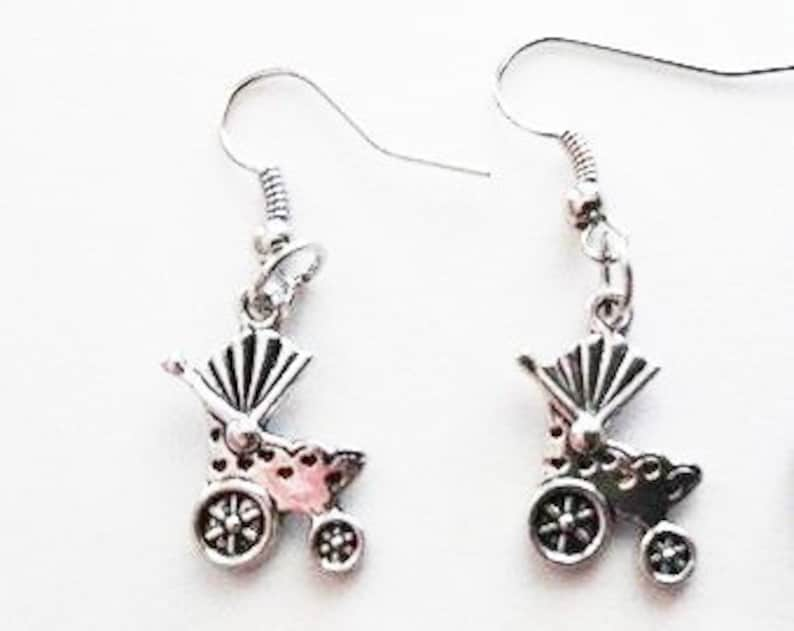 Baby Carriage Earrings in Tibetan Silver or Corded Necklace image 0