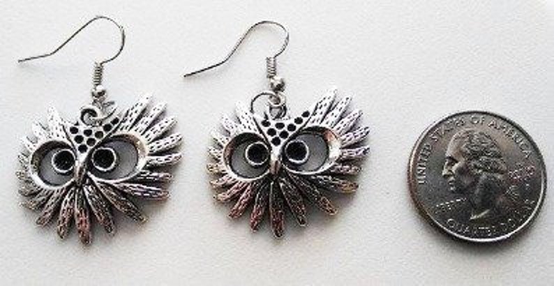 Tibetan Silver Owl Black Eyes Earrings or Corded Necklace image 0