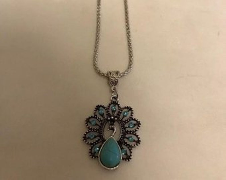 Peacock Pendant Necklace Turquoise image 0