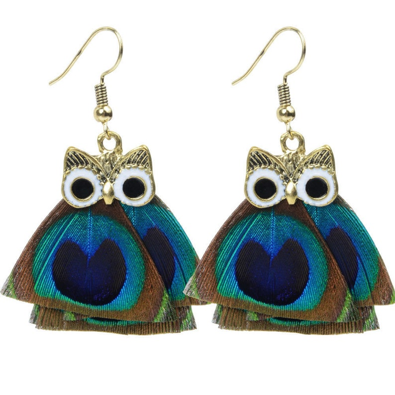 Peacock Feather Owl Dangling Earrings image 0