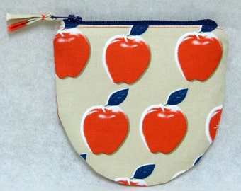 Coin purse, bag, pouch, zipper, apple, red, round