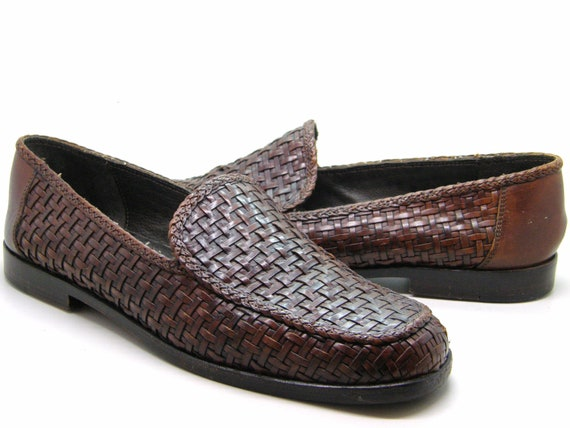 aa10b749a8cf8 Leather Weave Loafers Slip On Low Heel Cole Haan Made in Italy Sz 8 1/2 AA