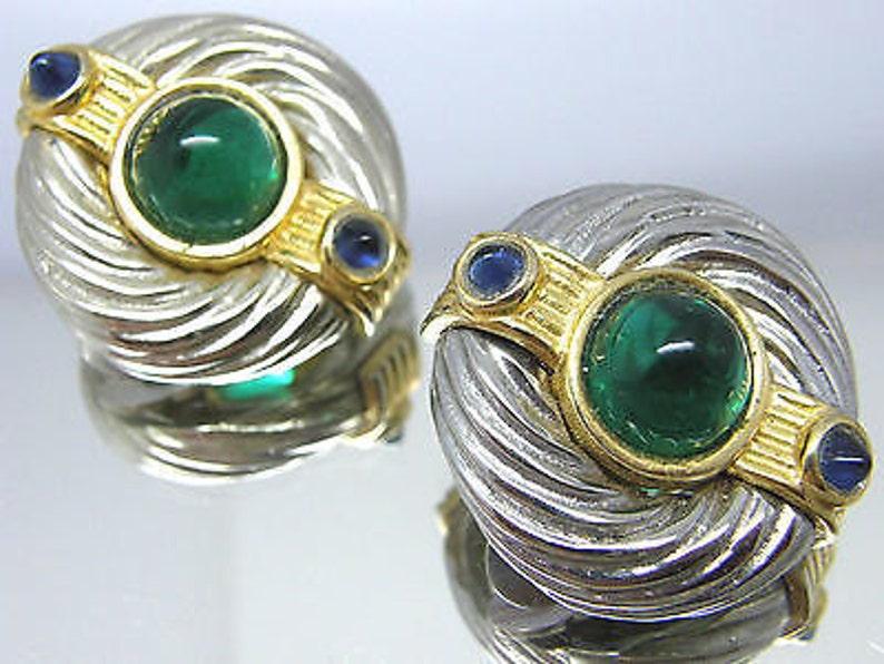 Clip On Earrings 80/'s Maresco Gripoix Glass Silver Gold Tone Molded Cable Design teamvintageusa ecochic team