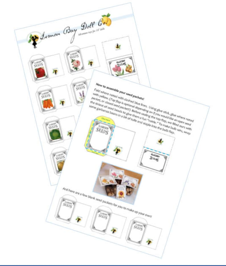 picture regarding Printable Seed Packet titled SEED PACKET PDF printable scaled for American Girl®, 18-inch Dolls.