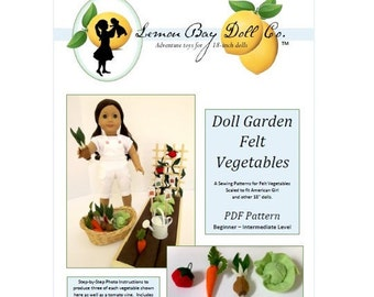 PATTERN for Doll Garden FELT VEGETABLES pdf scaled for American Girl®, 18-inch Dolls.  Includes bonus seed packet printable!