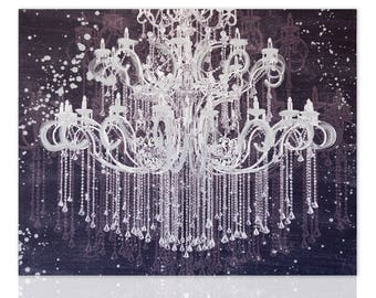 Modern Painting Chandelier Silver Glamour Ready To Hang Wall Art Decor  Pictures Living Room Bedroom Wall Art Paintings Art Candle Canvas