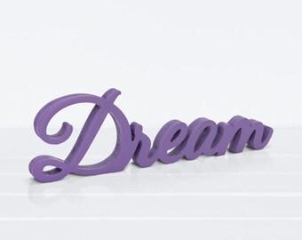 Wood Sign DREAM Violet - Love wooden letters, Wood letter, Wood 3D Lettering, Table Sign, Wedding Sign, Love Sign, Wood Decoration