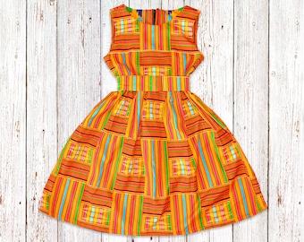e1c25d00e Girl's Orange Kente Dress, African Flower Girl Dress, Ankara Birthday Dress